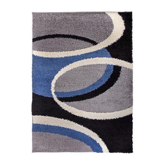 World Rug Gallery Shag Contemporary Geometric Circles Rectangular Indoor Rugs