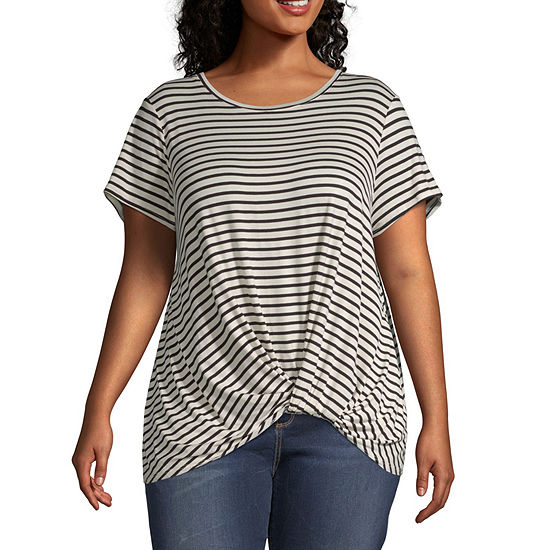 Lone Lux-Womens Round Neck Short Sleeve T-Shirt Plus
