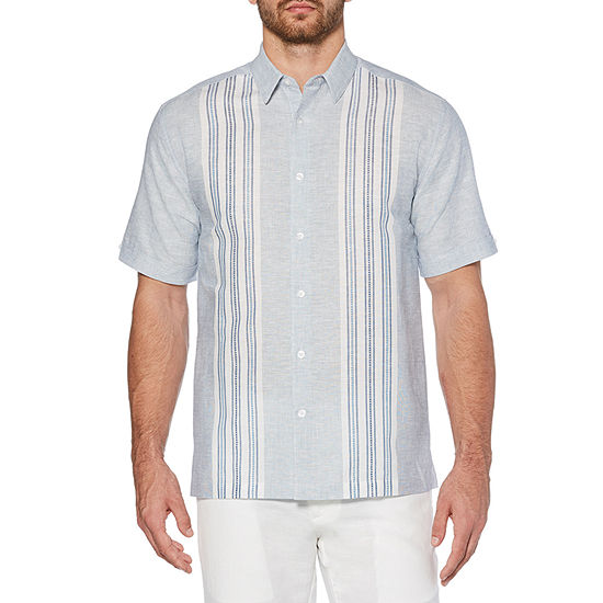 Cubavera Mens Short Sleeve Striped Button-Front Shirt