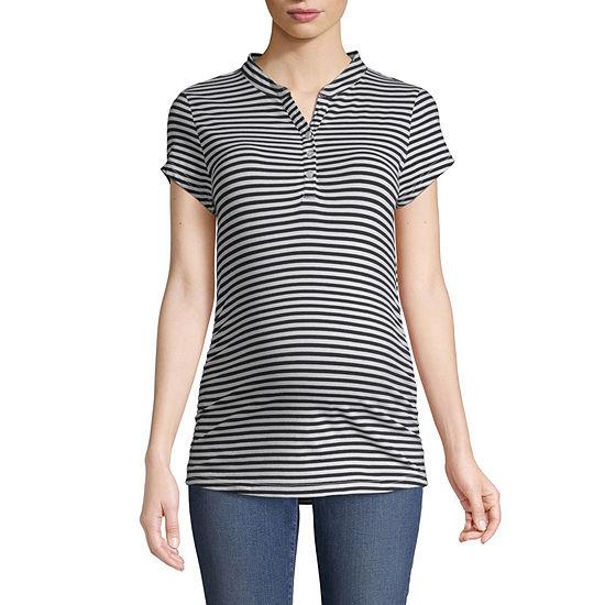 Short Sleeve Stripe Henley Tee - Maternity