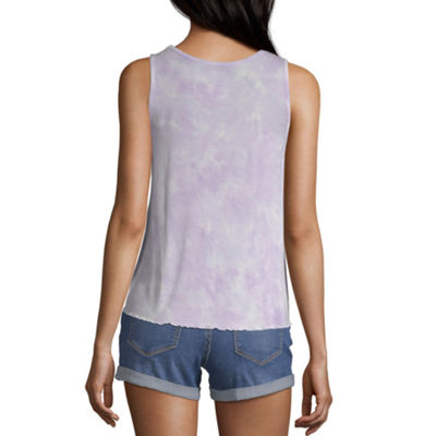 Arizona Womens Round Neck Sleeveless Tank Top Juniors