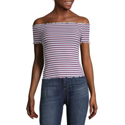 Arizona-Womens Straight Neck Short Sleeve T-Shirt Juniors