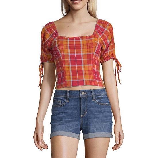 Arizona Square Neck Short Sleeve Crop Top-Juniors