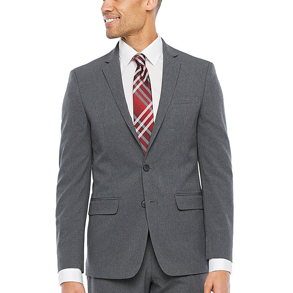 Van Heusen-Slim Air Charcoal Grid Slim Fit Suit Jacket