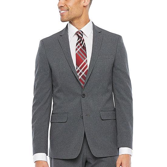 Van Heusen-Slim Air Charcoal Grid Slim Fit Suit Jacket