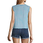 Us Polo Assn.-Juniors Womens Mock Neck Sleeveless Blouse
