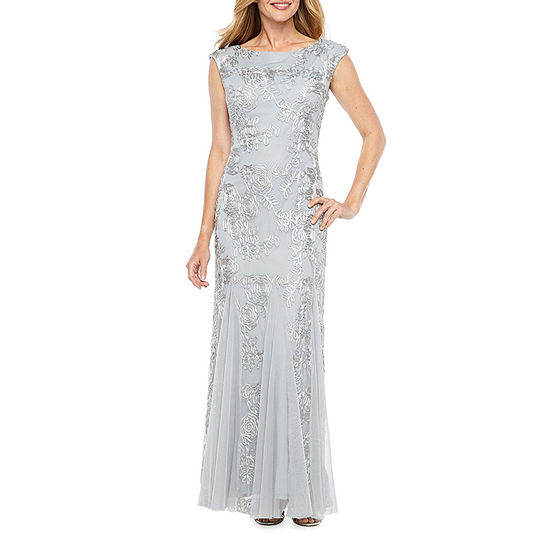 Onyx Sleeveless Embroidered Evening Gown