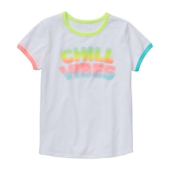 Arizona Little & Big Girls Round Neck Short Sleeve Graphic T-Shirt