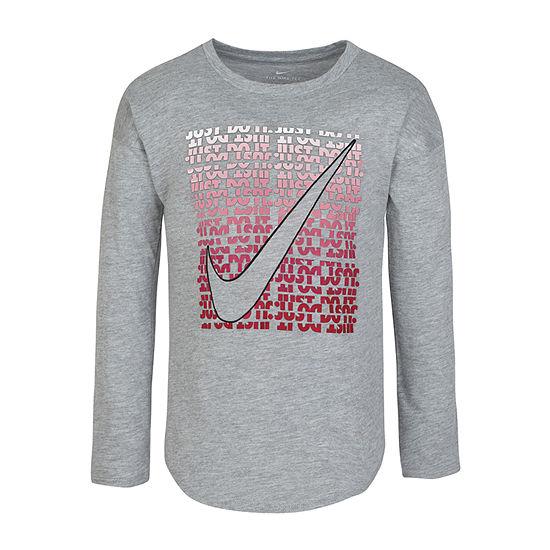 Nike Little Girls Round Neck Long Sleeve Graphic T-Shirt