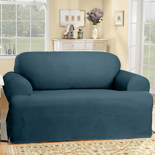 SURE FIT® Cotton Duck T-Cushion Sofa Slipcover - FIT® Cotton Duck T-Cushion Sofa Slipcover