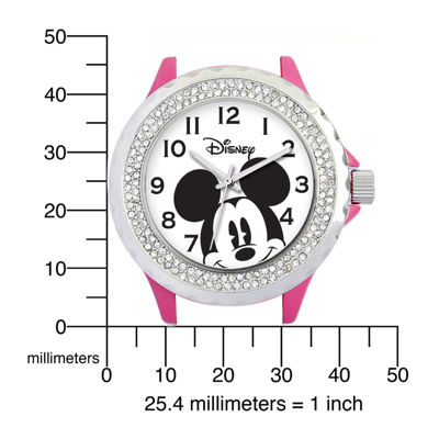 Disney Mickey Mouse Womens Pink Enamel Watch with Crystals