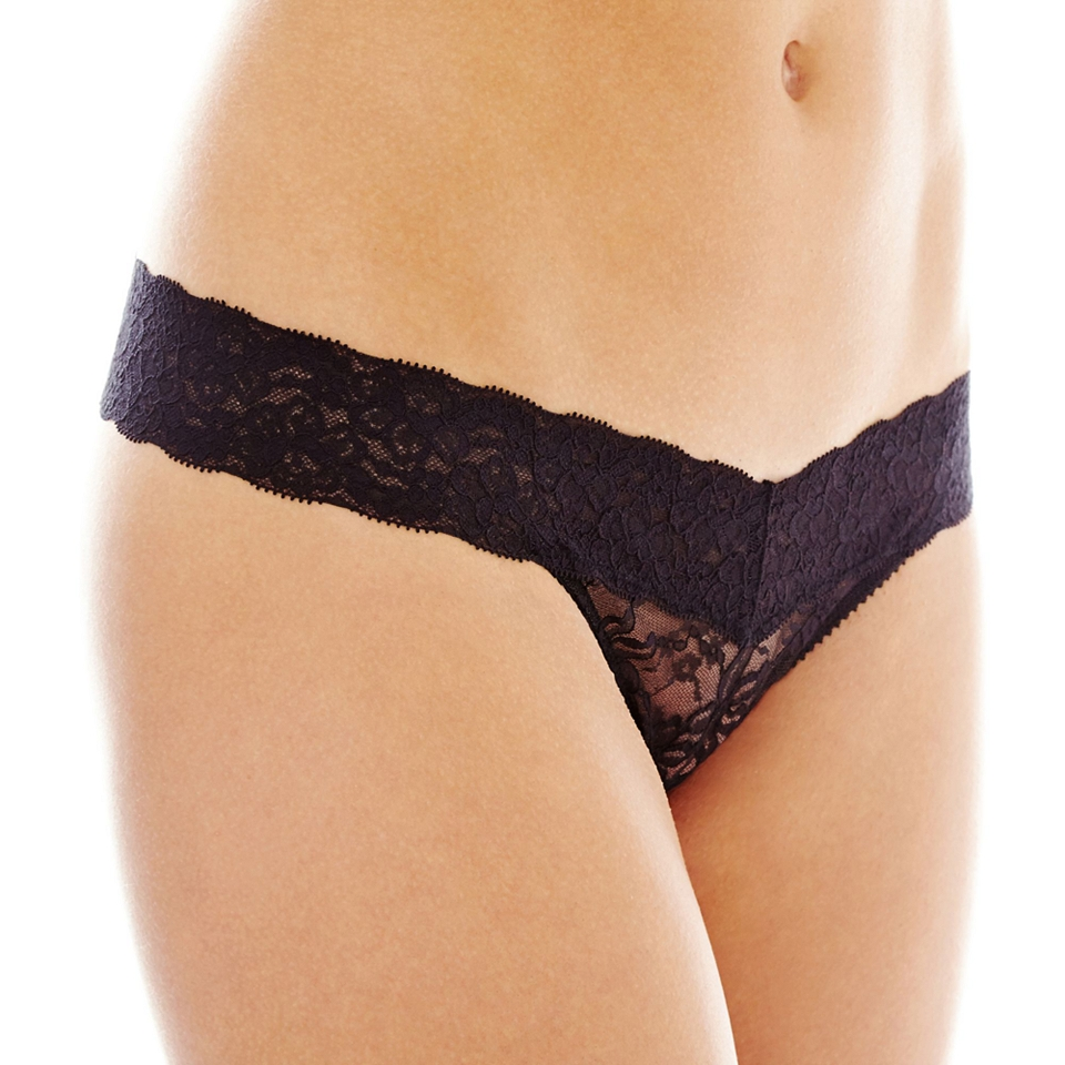 THE BODY Elle Macpherson Intimates Stretch Lace Thong Panties, Black