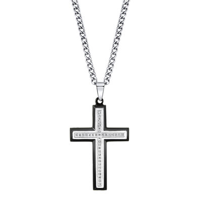 Mens 1/10 CT. T.W. Diamond Two-Tone Stainless Steel Cross Pendant Necklace