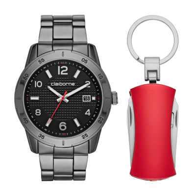 Liz Claiborne Mens Black 2-pack Watch Boxed Set-Clm9011