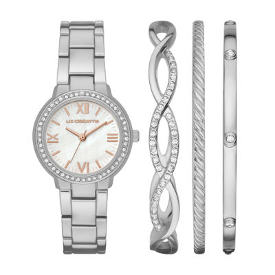 Liz Claiborne Womens Silver Tone 4-pc. Watch Boxed Set-Lc9050