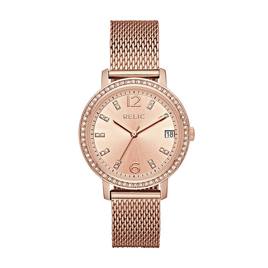 Relic By Fossil Laurie Womens Multi-Function Rose Goldtone Bracelet Watch-Zr34399