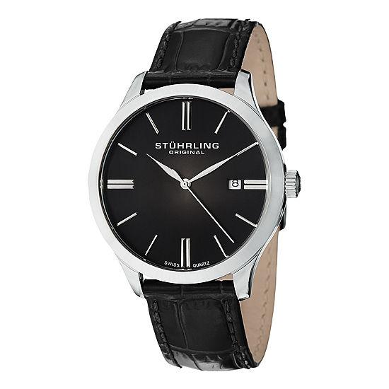 Stuhrling Set With Swarovski Crystals Mens Black Leather Strap Watch-Sp12460
