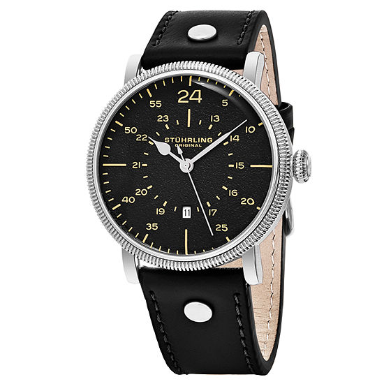 Stuhrling Mens Black Strap Watch-Sp16312