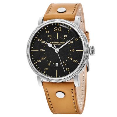 Stuhrling Mens Brown Strap Watch-Sp16314