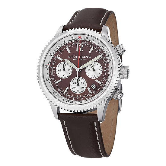 Stuhrling Mens Brown Leather Strap Watch-Sp14899