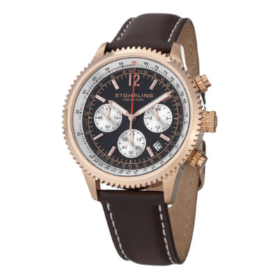 Stuhrling Mens Brown Leather Strap Watch-Sp14900