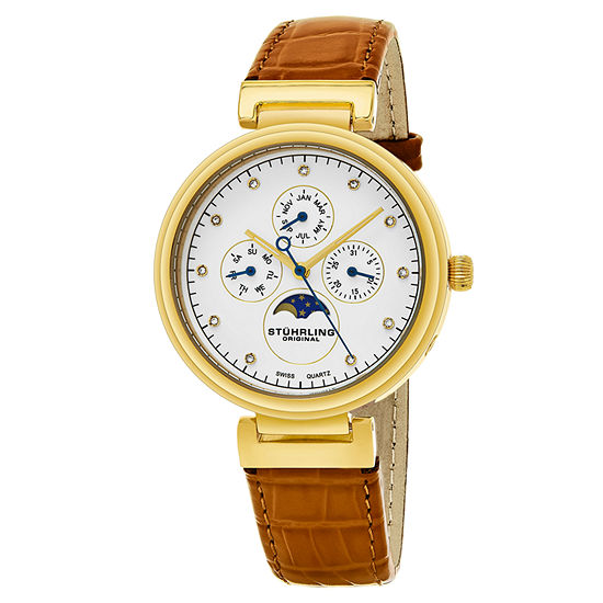 Stuhrling Womens Orange Leather Strap Watch-Sp16303