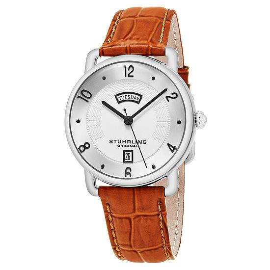 Stuhrling Mens Brown Strap Watch-Sp16308