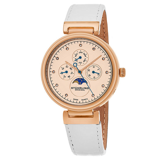 Stuhrling Womens White Leather Strap Watch-Sp16305