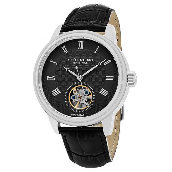 Stuhrling Mens Automatic Black Leather Strap Watch-Sp15815