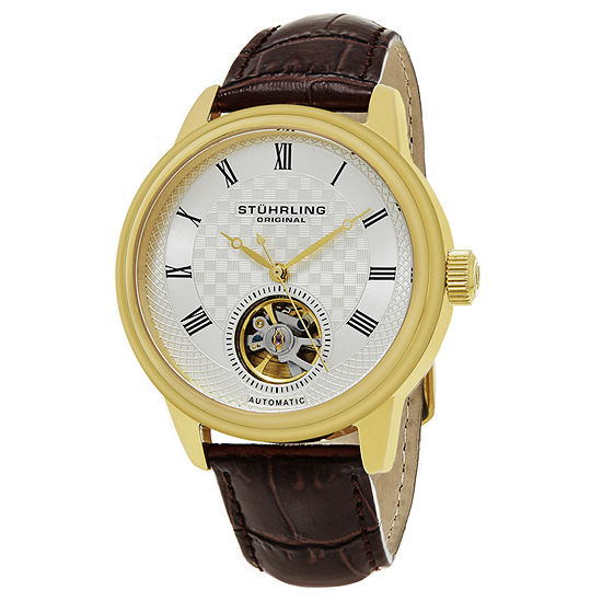 Stuhrling Mens Automatic Brown Leather Strap Watch-Sp15816