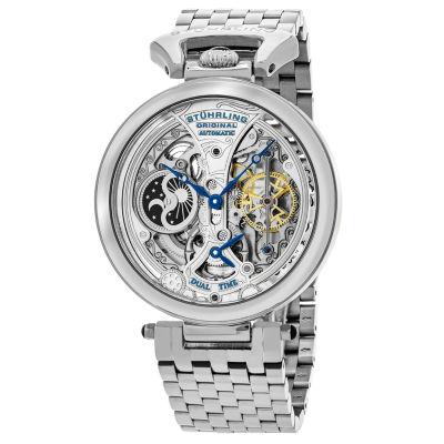 Stuhrling Mens Silver Tone Bracelet Watch-Sp15832