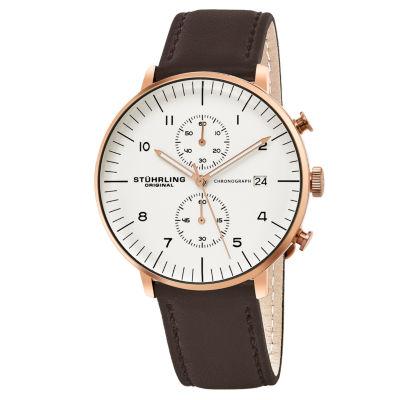 Stuhrling Mens Brown Strap Watch-Sp16058