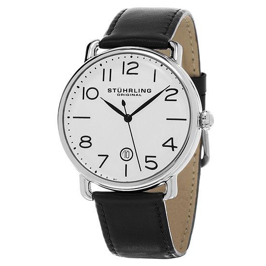 Stuhrling Mens Black Leather Strap Watch-Sp15501