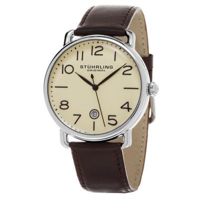 Stuhrling Mens Brown Strap Watch-Sp15502