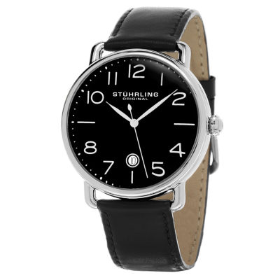 Stuhrling Mens Black Strap Watch-Sp15506