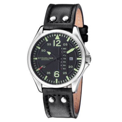 Stuhrling Mens Black Strap Watch-Sp15161
