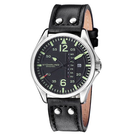 Stuhrling Mens Black Leather Strap Watch-Sp15161