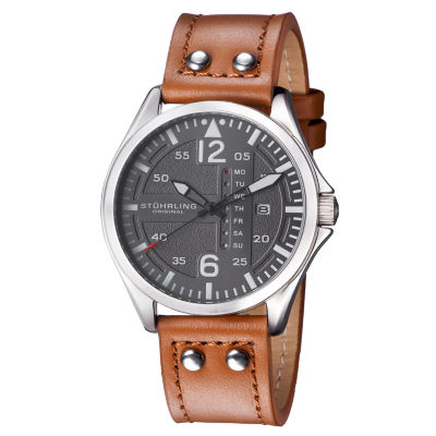 Stuhrling Mens Brown Leather Strap Watch-Sp15162