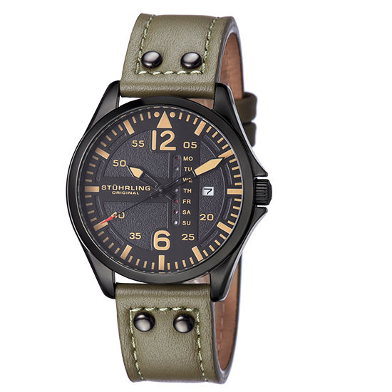 Stuhrling Mens Green Leather Strap Watch-Sp15163