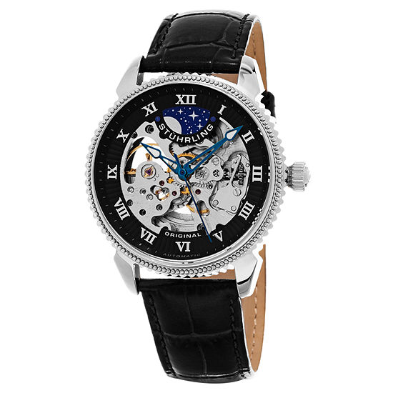 Stuhrling Mens Automatic Black Leather Strap Watch-Sp15619