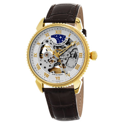 Stuhrling Mens Brown Strap Watch-Sp15620
