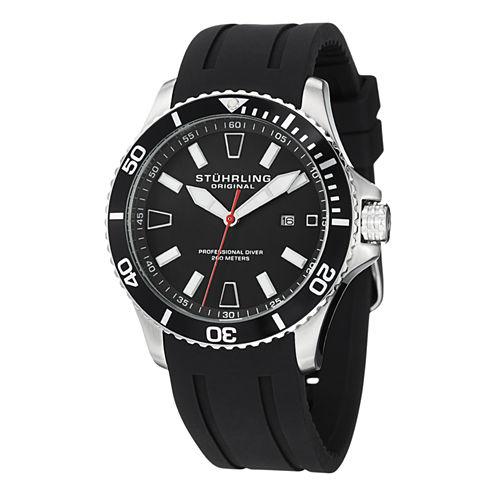Stuhrling Mens Black Strap Watch-Sp12958