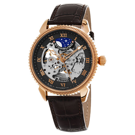 Stuhrling Mens Automatic Brown Leather Strap Watch-Sp15621