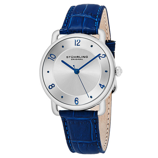 Stuhrling Mens Blue Leather Strap Watch-Sp16353