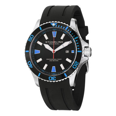 Stuhrling Mens Black Strap Watch-Sp12959