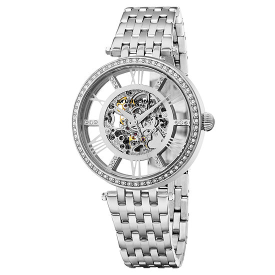 Stuhrling Womens Automatic Silver Tone Stainless Steel Bracelet Watch-Sp16315