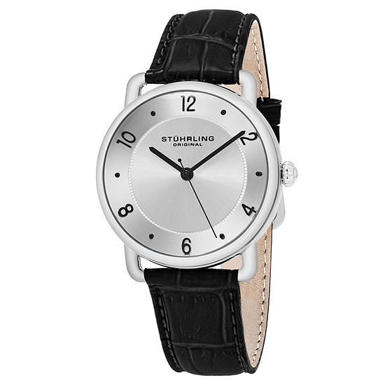 Stuhrling Mens Brown Leather Strap Watch-Sp16354