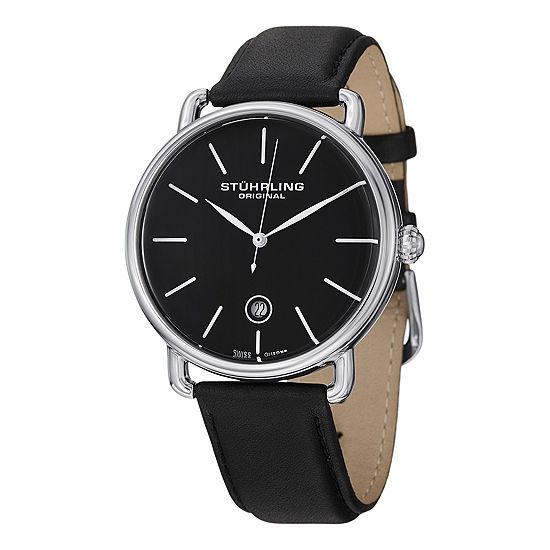 Stuhrling Mens Black Leather Strap Watch-Sp13116