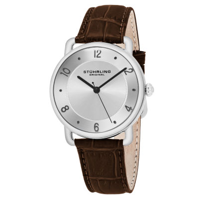 Stuhrling Mens Brown Leather Strap Watch-Sp16355