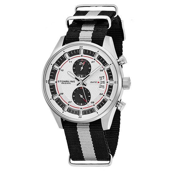Stuhrling Mens Black Strap Watch-Sp16359